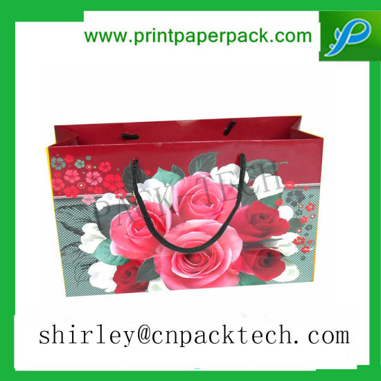 Custom Extravagant Floral Colorful Shopping Party Paper Bag pictures & photos