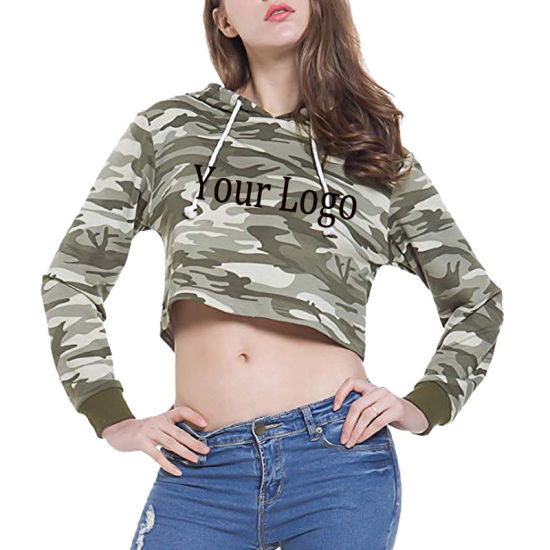 2bfd8571fc5501 High Quality Fashion Design Hip Hop Cotton Camo Terry Women Crop Top Hoodie  with Private Label