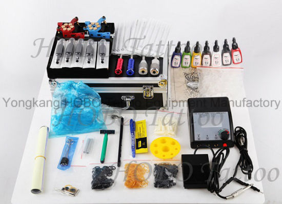 Cheap Overall Tattoo Kits with Two Machines Power Supply 26 Piece a Set pictures & photos