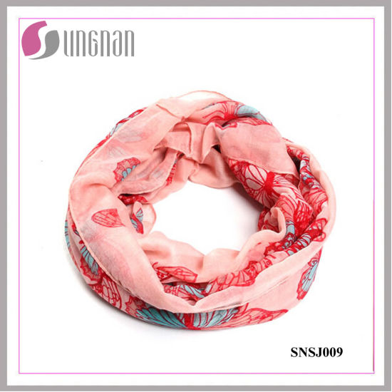 Butterfly Pattern Printed Fashion Voile Infinity Scarf (SNSJ009)