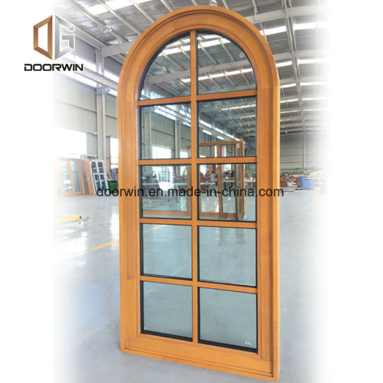 Top Quality of Solid Wood Specialty Window, Wood Aluminum Round Top Arch Design Aesthetic Window