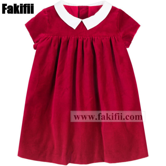 Winter Wholesale Toddler/Kid/Girl Clothing Red Velvet Dress Children Apparel pictures & photos