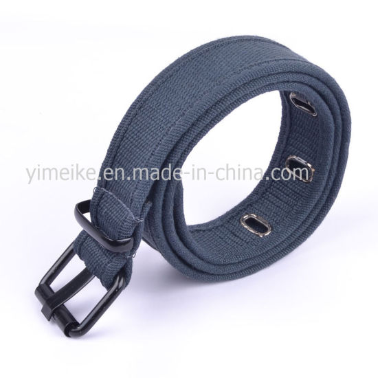 Alloy Square Buckle Big Flat Hole Canvas Stripe Belt