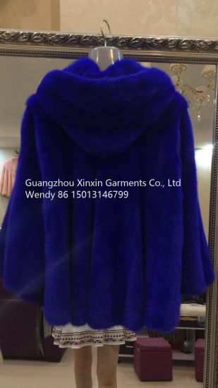 Stock Superior High Quality Luxury Blue Mink Lady Fur Length 60 Cm Hooded Mink Coat (13003) pictures & photos