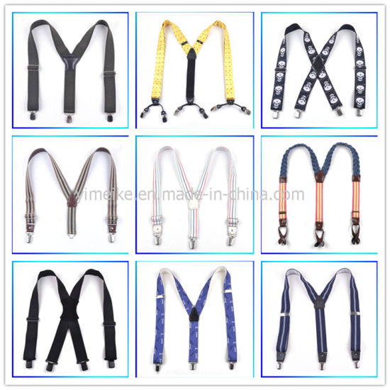 Personalized Logo Stamped X Shape Leather Fittings Elastic Suspender pictures & photos
