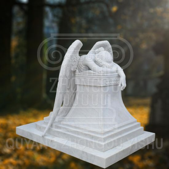Great Quality Hunan Material Marble Statue of Weeping Angel, Angel Sculpture Monument