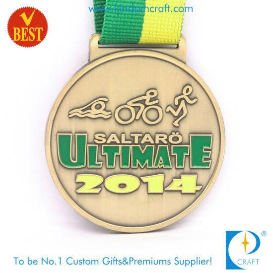 Custom Wholesale Copper Stamping Sport Triathlon Award Medal