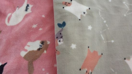 China Cat Printing Kids Clothes Garment Blanket Home Textile Carpet Seepwear Flannel Fleece Knitting Fabric