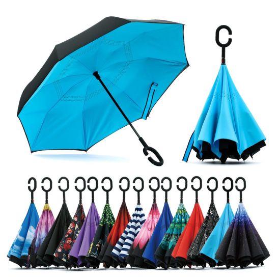 Wholesale Amazon Custom Logo Printed Double Fabric Windproof C Shape Handle Upside Down Inverted Reverse Rain Umbrella for Sale