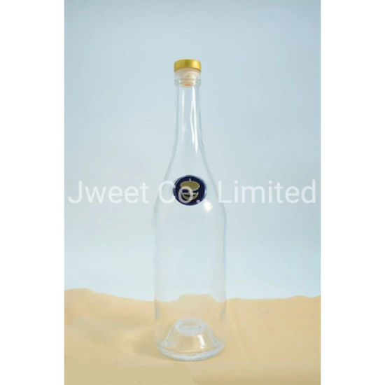 Pear-Shaped Crystal Glass Clear 700ml Spirit Glass Bottle with Rubber Stopper
