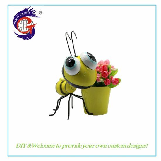 Wholesale Cute Bee Shape Wrought Iron Flower Pot Gardening Decoration