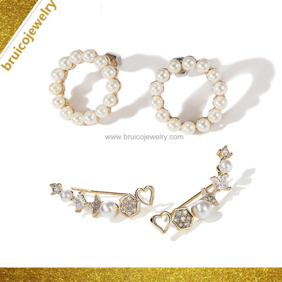 Jewellery Factory Wholesale 925 Sterling Silver 18K 14K 9K White Gold  Plating Jewelry Pearl CZ Earring