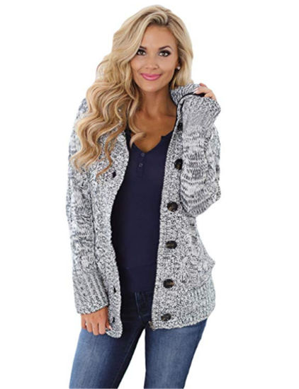 Dark Gray Long Sleeve Button-up Hooded Cardigans Sweater