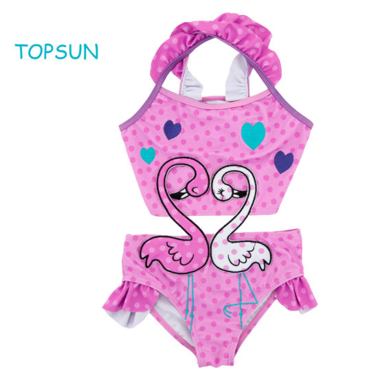 Baby Girl One Piece Swimsuit Printed Bikini Swimwear Beach Bathing Suit with Animals Pattern Printing and Bow Knot Design