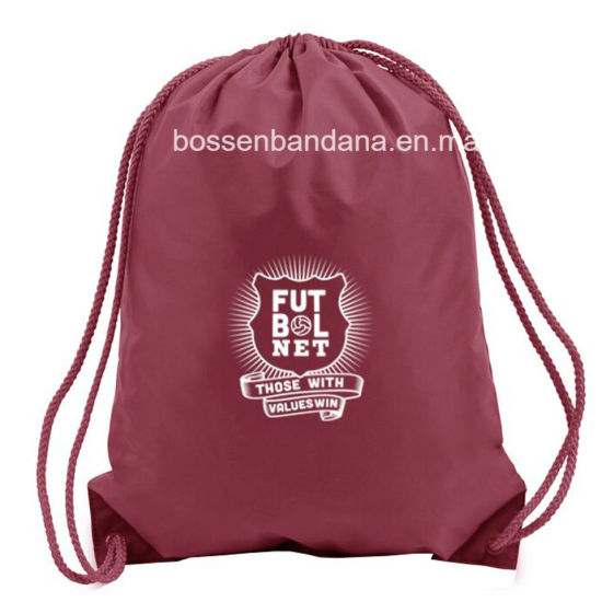 OEM Custom Design Logo Printed 210d 360d 480d Red Polyester Drawstring Backpack Bags Factory pictures & photos
