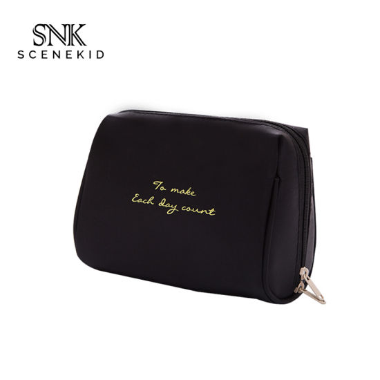 Custom Logo Travel Sublimation Black Nylon Makeup Bag, Waterproof Cosmetic Brush Bag Case with Zipper pictures & photos