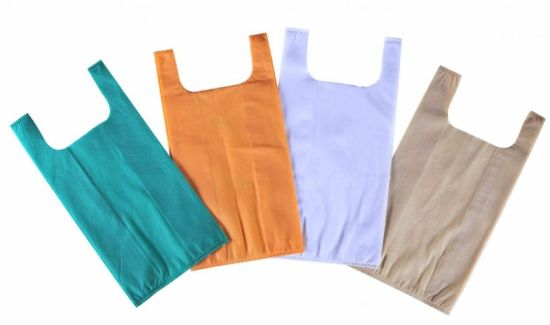 W Cut Non Woven Vest Bags Custom Shoulder Bags 30GSM