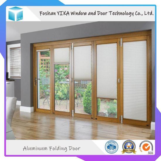 Electric Blinds Inside Double Tempered Glass Aluminum Folding Door For Exterior Door China Entrance Door Exterior Door Made In China Com