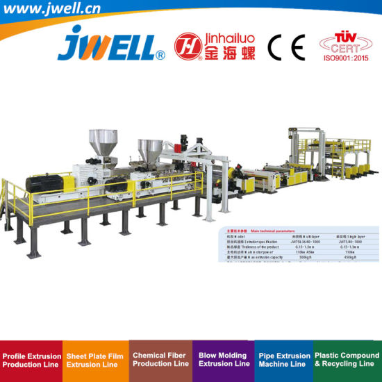 Jwell Pet Plastic Multi- Layers Sheet Recycling Agricultural Making Co-Extrusion Machine for Packing Decoration and Construction