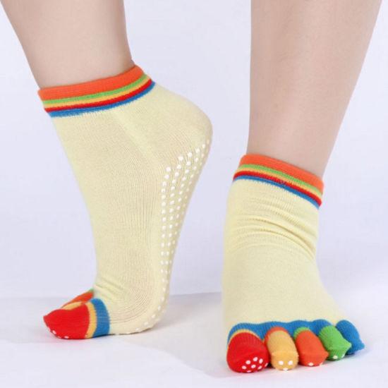 26b75bf7412 Custom Design Colorful Anti Fatigue Anti Blister Anti Slip 5 Toe Grip Women Yoga  Socks