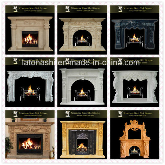 Modern Art Deco /White/Beige/Black/Golden/Red/Marble/Granite/Limestone/Stone/Outdoor/Indoor/Electric Fireplace for Fireplace Mantel/Surround/Wood Burning Stove