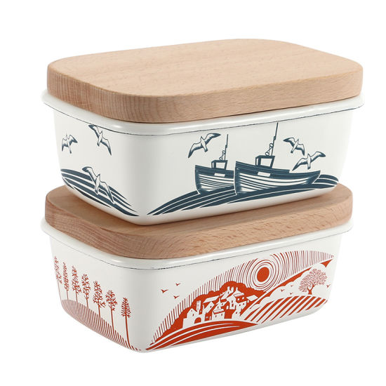 High Quality FDA Standard White Decals Enamelware Camping Butter Bowls with Wooden Top pictures & photos