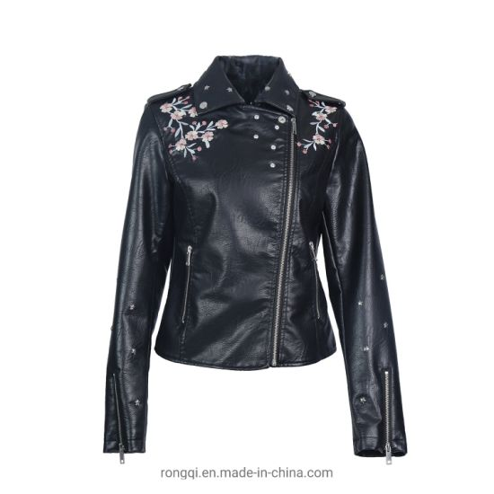Ladies' PU Embroidery Jacket with Metal Zippers