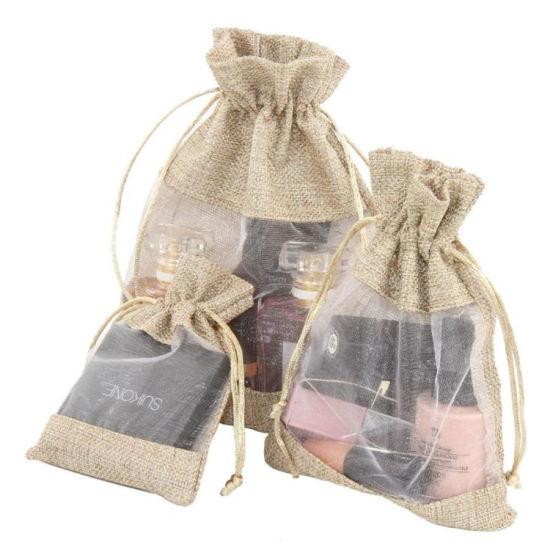 Linen Burlap Sheer Bag Organza Present Bag Drawstring Bag with Window
