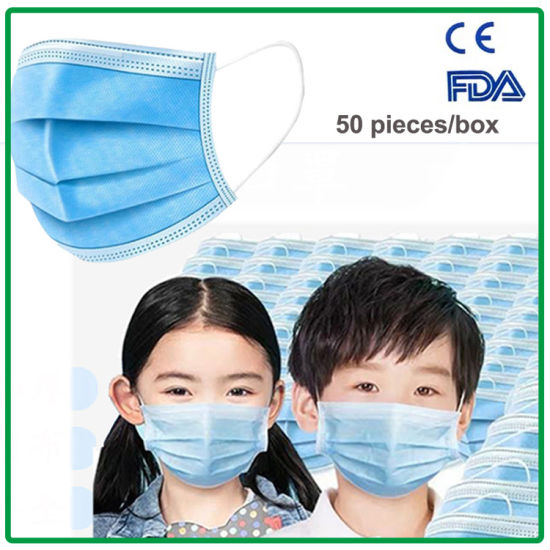 Kids 3-Ply Pm2.5 Earloop Disposable Protective Children Nonwoven Face Mask