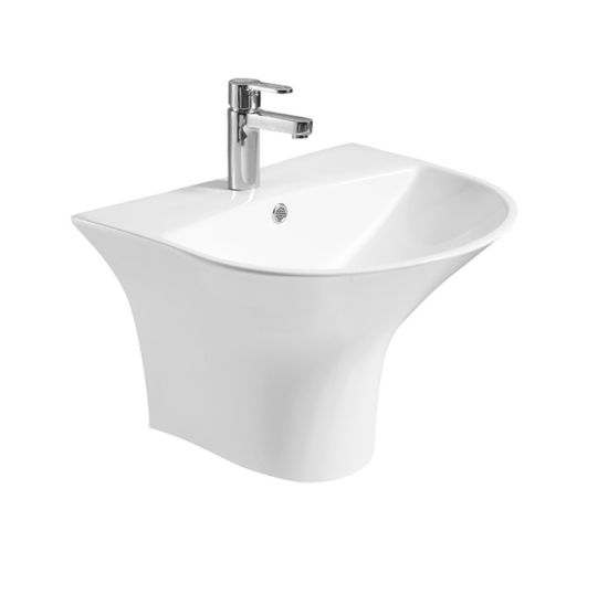 D6001 Wall Hung One Piece Half Pedestal Basin
