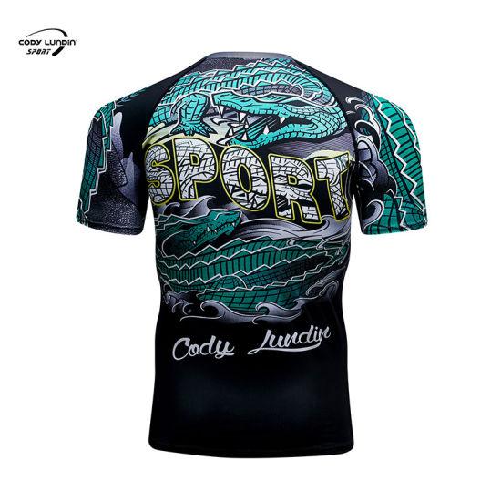 Cody Lundin OEM High Quality Men Tight Sports Training T Shirt Fitness Compression Gym T Shirt