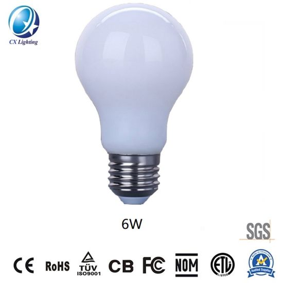 for Decoration Lighting White LED Filament Bulb A60 6W 170-240V