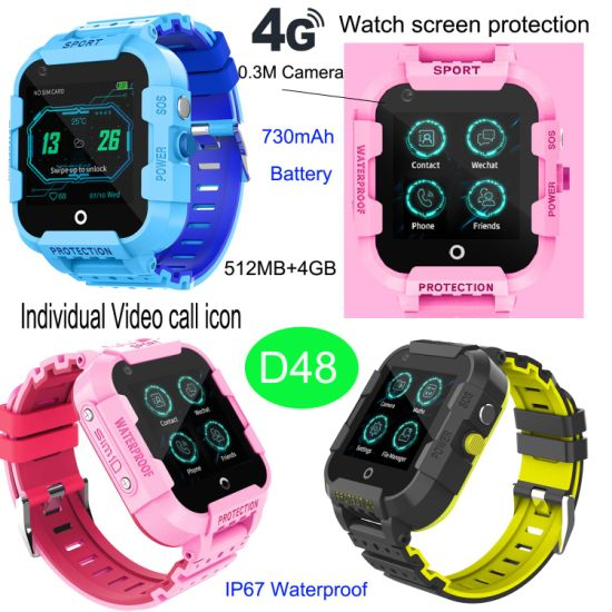 4G/Lte Kids/Adults GPS Tracker Watch with Whatsapp Video Call D48