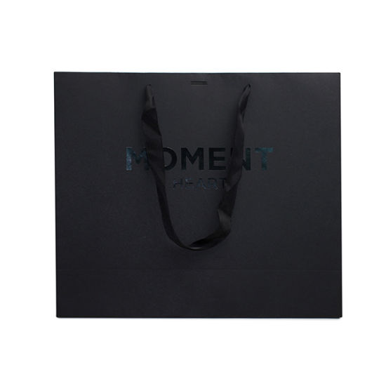 Wholesale Black Printed Garment Suit Paper Shopping Bag