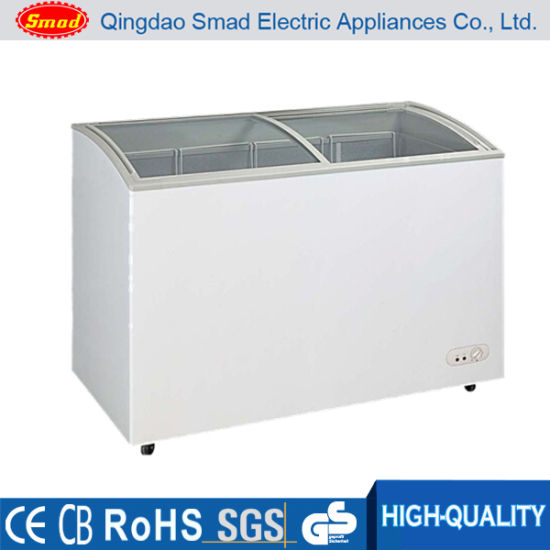 China Two Doors Horizontal Glass Top Deep Chest Freezer Sd270