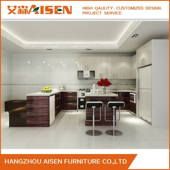 Long Warranty Time Commercial Small Wood Veneer Kitchen Cabinet
