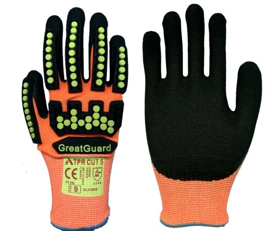 TPR Cut Impact Vibration Proof Safety Work Glove for Mining Oil Gas Field pictures & photos
