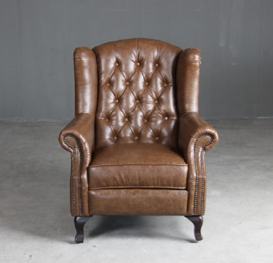 Chesterfield Queen Anne Wingback Armchair High Back Leather Sofa Chair