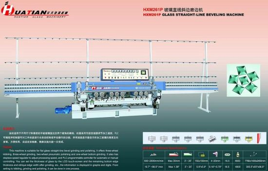 9 Spindles Automatic PLC Control Glass Straight Line Beveling Machine