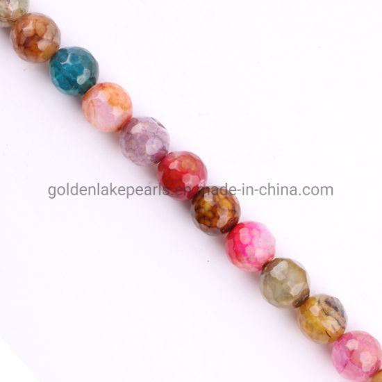 Fashion Jewelry Mixed-Color Cracked Agate Faceted Rounds Gemstone Beads