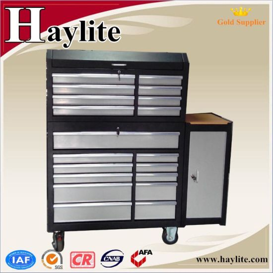 Widely Used Black Powder Coating Steel Workbench with Drawers for Sale pictures & photos