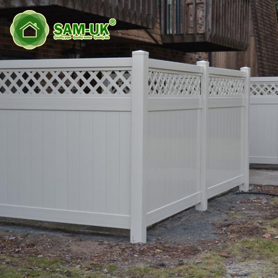 6' X 8' Modern Vinyl Private Fence with Ornamental Top