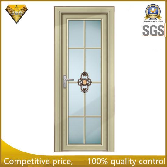China Wooden Color Frame Tempered Glass Aluminum Bathroom Swing Door ...