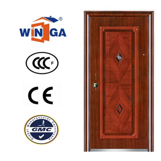 Good Price Security Wood Metal Exterior Steel Iron Door (W-S-141) pictures & photos