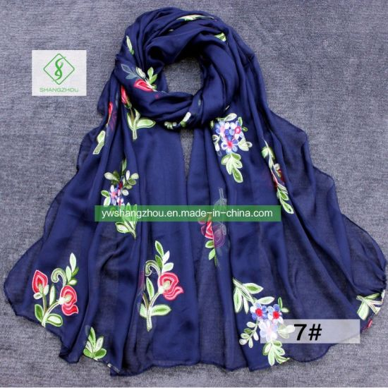 1d787bc3bc1dd China 2018 Hot Sale Violet Embroidered Silk Scarf Fashion Lady Shawl ...
