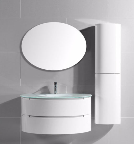 Customized Semi Circle Painting PVC Bathroom Vanity With Cruved Side Cabinet