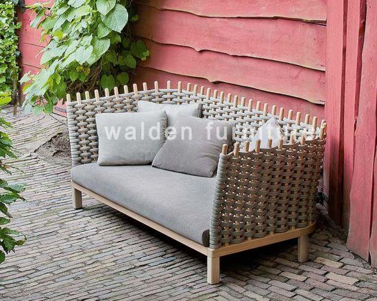 2018 Walden Luxury Wood Rope Weaving Garden Outdoor Sofa Lounge Chair