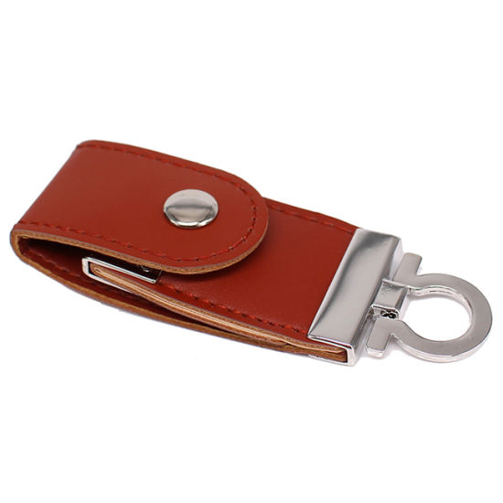 Custom Logo Leather Key Chain USB 2.0 Flash Drive for Promotion Gift pictures & photos