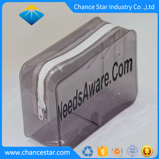 Custom Printed Semi Clear Black PVC Plastic Make up Zip Bag