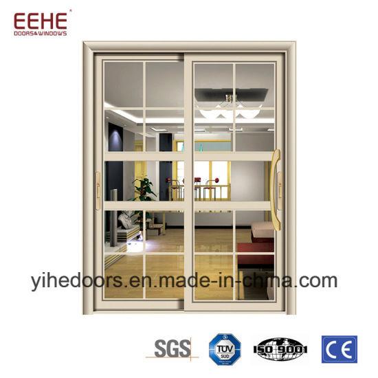 China Tempered Double Glass Doors Sliding Aluminum Door Price